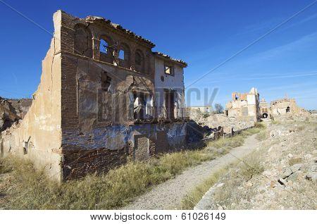 Belchite village destroyed in a bombing during the Spanish Civil War, Saragossa, Aragon, Spain