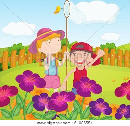 Illustration of the kids catching butterflies at the garden