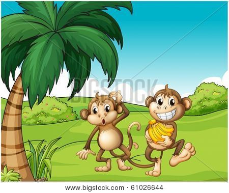 Illustration of the happy monkeys at the hill with bananas on a white background