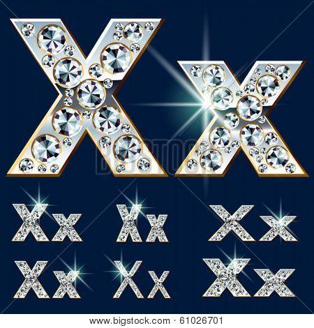 Ultimate vector alphabet of diamonds and platinum ingot. Six options. Letter x