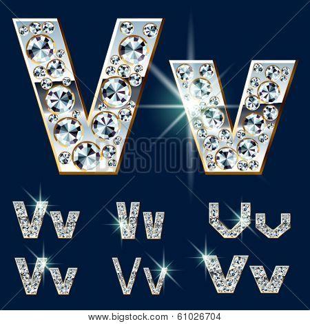 Ultimate vector alphabet of diamonds and platinum ingot. Six options. Letter v