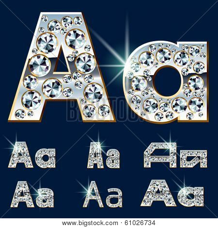 Ultimate vector alphabet of diamonds and platinum ingot. Six options. Letter a