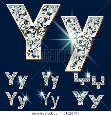 Ultimate vector alphabet of diamonds and platinum ingot. Six options. Letter y