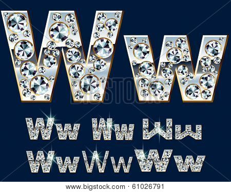 Ultimate vector alphabet of diamonds and platinum ingot. Six options. Letter w