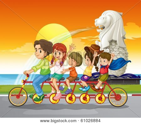 Illustration of a family bike near the statue of Merlion