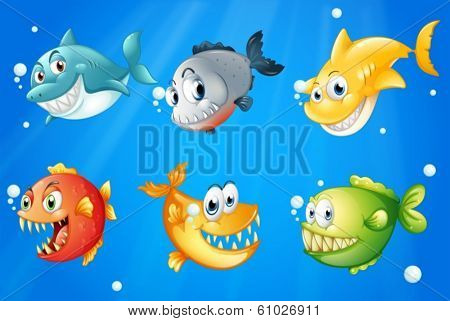 Illustration of the six colorful fishes under the deep sea