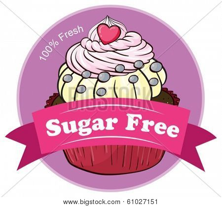Illustration of a mouthwatering cupcake with a sugar free label on a white background