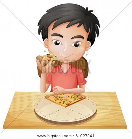 Illustration of a boy eating pizza on a white background