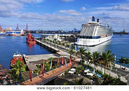 LAS PALMAS, SPAIN - OCTOBER 13: Cruise ship moored in the La Luz Port on October 13, 2013 in Las Palmas de Gran Canaria, Spain. The port of Las Palmas is the 4th most important ports in Spain