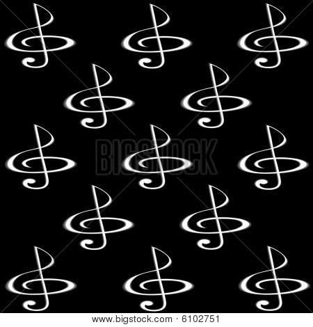 Treble glef of black background