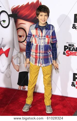 LOS ANGELES - MAR 5: Joshua Rush at the premiere of 'Mr. Peabody & Sherman' at Regency Village Theater on March 5, 2014 in Los Angeles, California