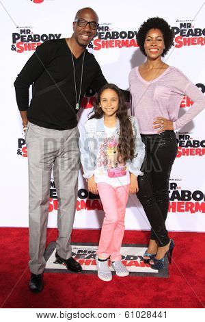 LOS ANGELES - MAR 5: J.B. Smoove, wife, daughter at the premiere of 'Mr. Peabody & Sherman' at Regency Village Theater on March 5, 2014 in Los Angeles, California