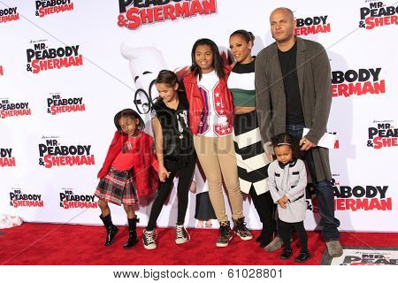 LOS ANGELES - MAR 5: Mel B, Stephen Belafonte, their children at the premiere of 'Mr. Peabody & Sherman' at Regency Village Theater on March 5, 2014 in Los Angeles, California