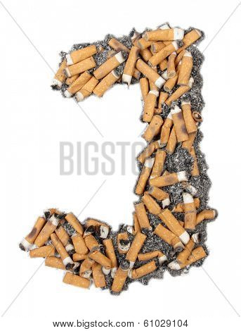 Letters and numbers alphabet of butts and ashes on a white background