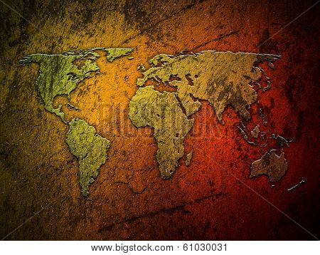 old concrete wall with world map