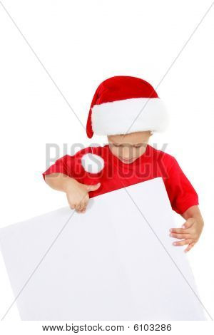 Santa Boy With Blank Banner For Greetings Over White