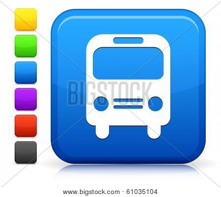 Bus Icon on Square Internet Button Collection