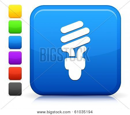 Fluorescent Icon on Square Internet Button Collection