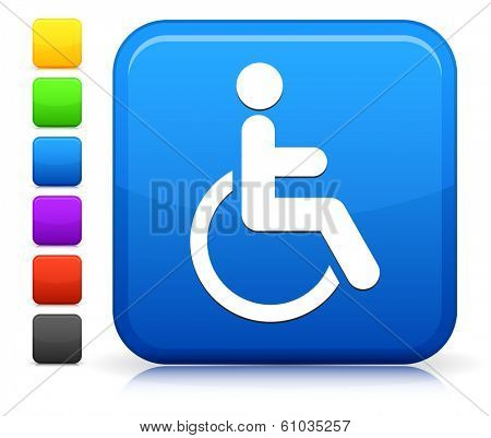 Wheelchair Icon on Square Internet Button Collection