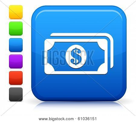 Money Icon on Square Internet Button Collection