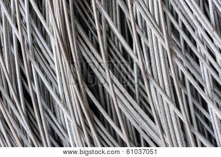 hank of metal wire, selective focus, usable as background
