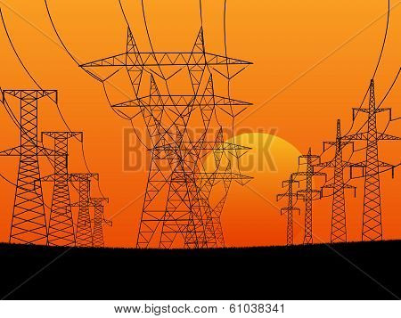 Abstract Horizontal Illustration Of Electric Transmission Line Tower.