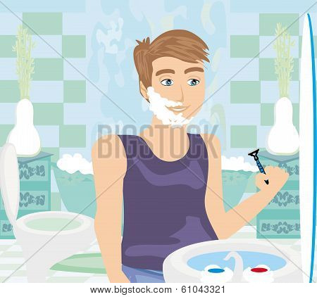 Young Man Shaving In Bathroom Mirror