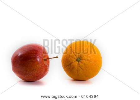 Apple And Orange Isolated On White Background