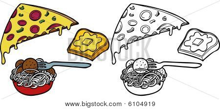 Pasta Pizza Garlic Bread Set