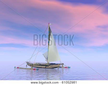 Trimaran boat by sunset - 3D render