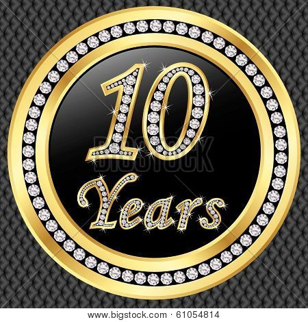 10 Years Anniversary Golden Happy Birthday Icon With Diamonds, Vector Illustration