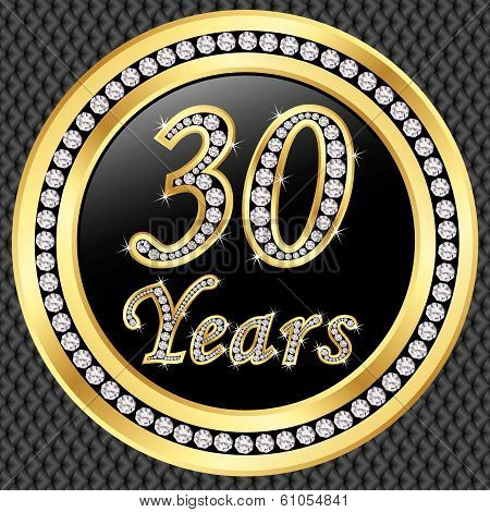 30 Years Anniversary Golden Happy Birthday Icon With Diamonds, Vector Illustration