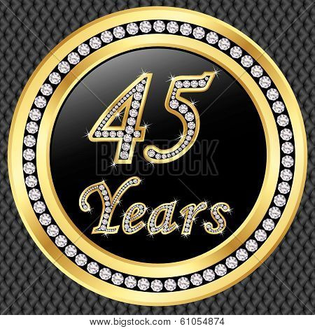 40 Years Anniversary Golden Happy Birthday Icon With Diamonds, Vector Illustration