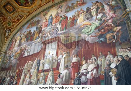 A wall painted by Raffaello inside Musei Vaticani in Rome