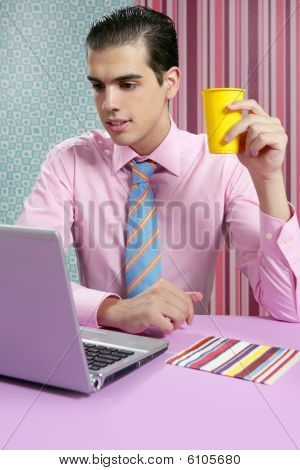 Businessman Young Eating Fast Food Menu