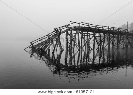 A Broken Down Wooden Bridge