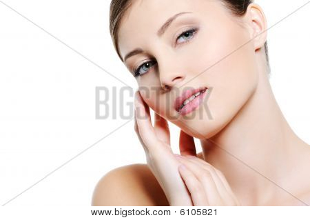 Face Of Young Sexy  Female With Clean Skin