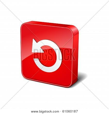 Reset 3d Rounded Corner Red Vector Icon Button