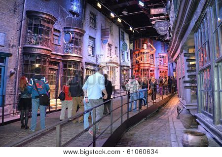 Diagon Alley where Harry Potter was filmed at the Warner Bros. studio, London