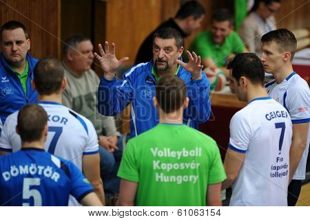KAPOSVAR, HUNGARY - FEBRUARY 25: Gyorgy Demeter (C) (Kaposvar trainer) in action at a Hungarian Championship volleyball game Kaposvar (white) vs. Sumeg (green), February 25, 2014 in Kaposvar, Hungary.