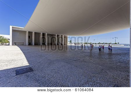 Lisbon, Portugal - August 02, 2013: Portuguese Pavilion in Parque das Nacoes. By the Pritzker Award winner architect, alvaro de Siza Vieira.