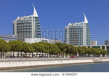 Lisbon, Portugal - August 02, 2013: Sao Gabriel (L) and Sao Rafael (R) Towers seen from the Olivais Dock. Parque das Nacoes (Park of Nations)