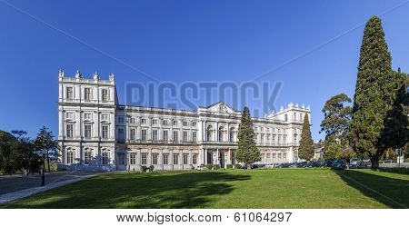 Lisbon, Portugal - December 02, 2013: Ajuda National Palace. Lisbon, Portugal. 19th century neoclassical Royal palace. One of the landmarks of the Portuguese capital.
