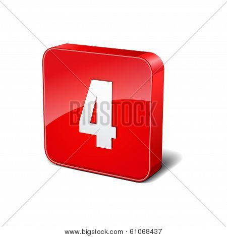 4 Number 3d Rounded Corner Red Vector Icon Button