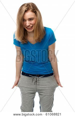 Vivacious Young Woman Standing Laughing