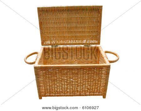 Wickerwork Open Wood Basket Isolated Over White