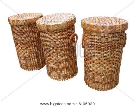 Wickerwork Wood Baskets Isolated Over White