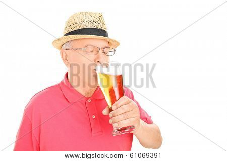 Man drinking beer isolated on white background