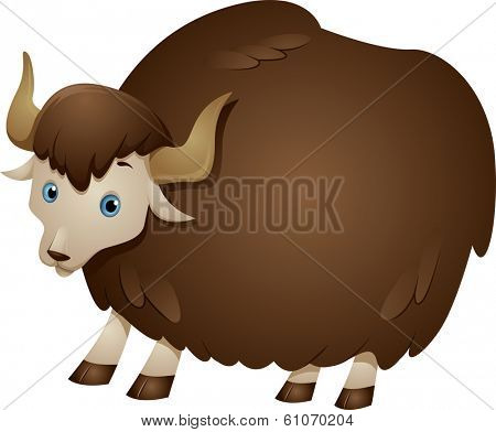Illustration of a Yak with a Thick Wooly Coat