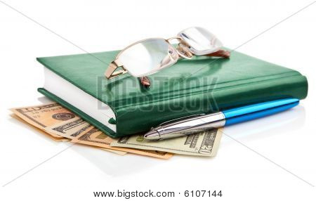 Green Notebook With Pen Isolated On White